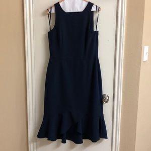 Navy blue sheath dress with darted waist